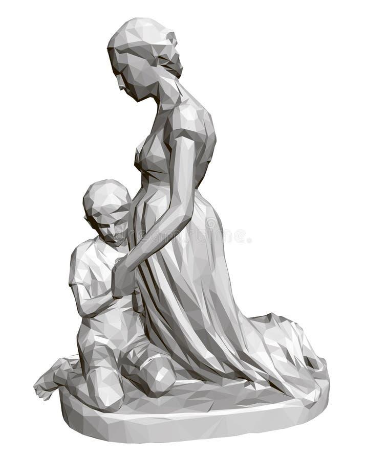 Polygonale Statue der betenden Frau und der Kinder 3d Auch im corel abgehobenen Betrag vektor abbildung
