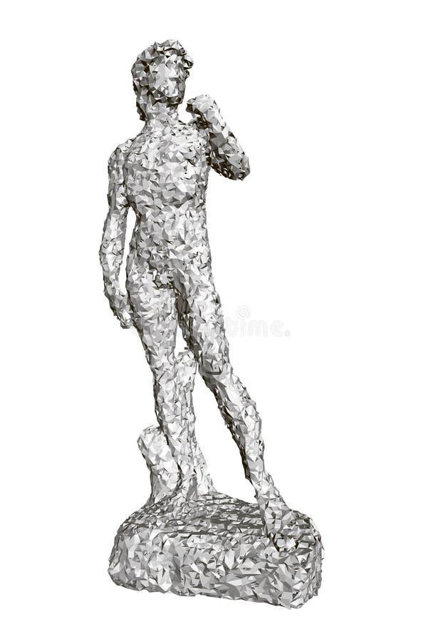 Polygonale Statue von David Front View 3d lizenzfreie abbildung