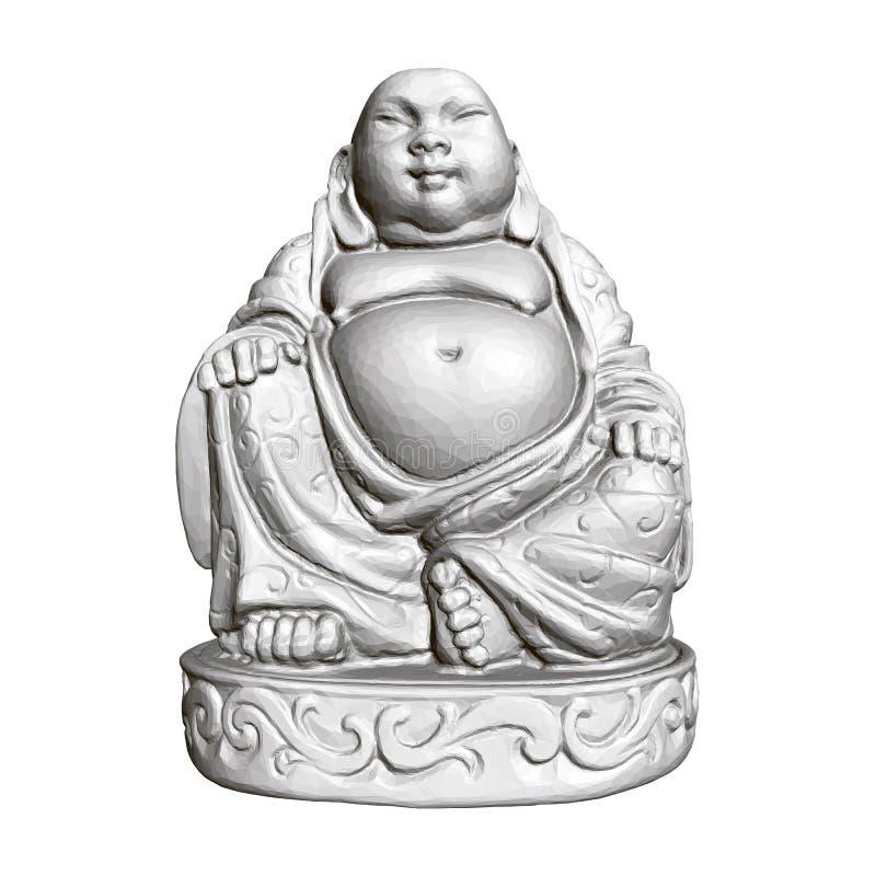 Polygonale Statue von Maitreya 3d Front View lizenzfreie abbildung