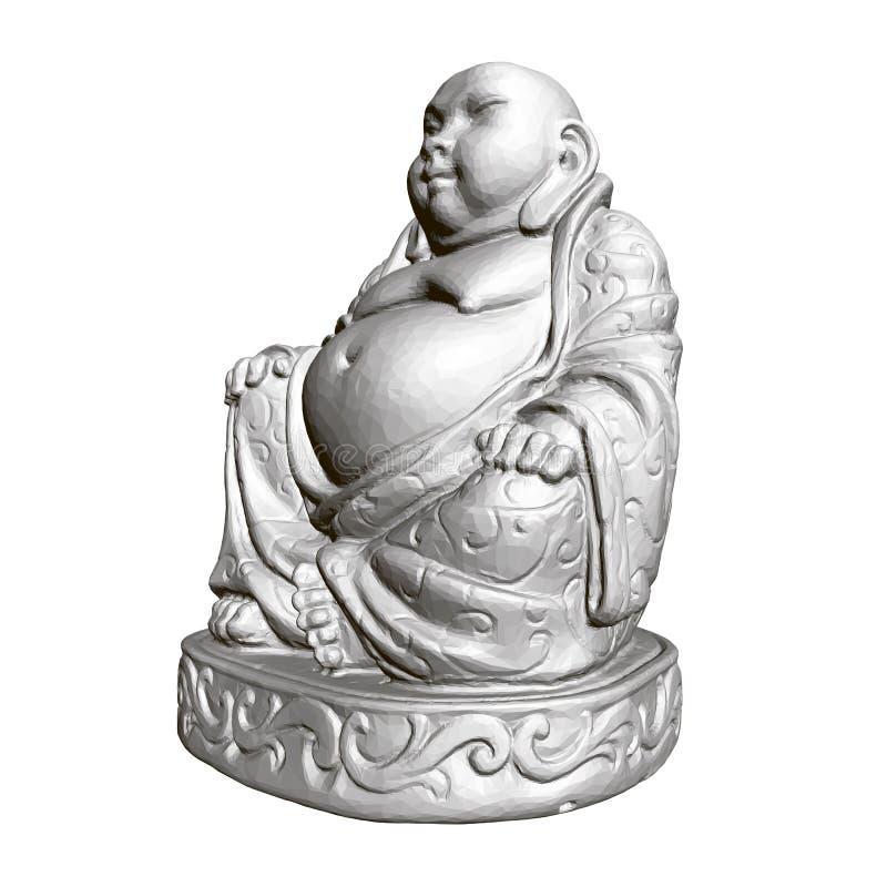Polygonale Statue von Maitreya 3d Weicher Fokus stock abbildung