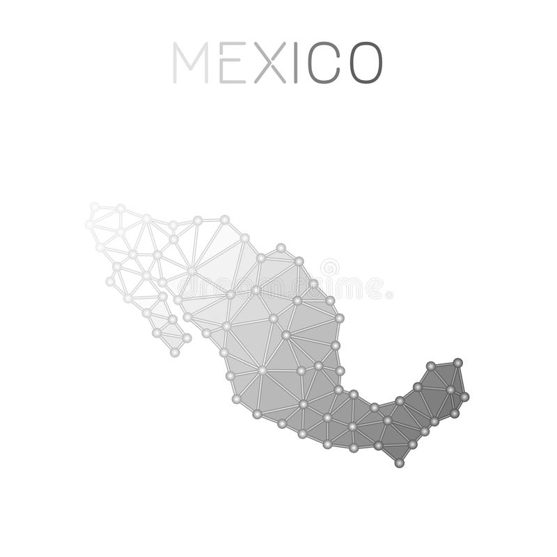 Polygonale Vektorkarte Mexikos lizenzfreie abbildung