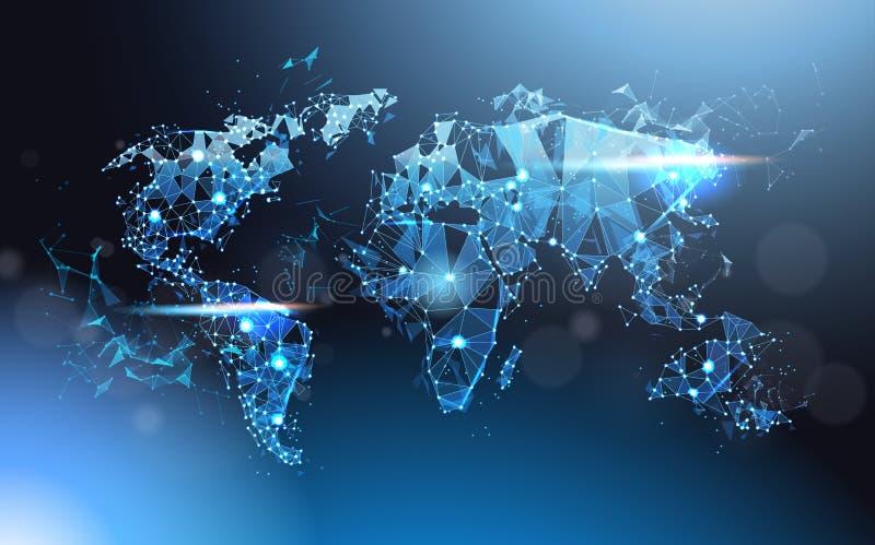 Polygonale Weltkarte glühende Wareframe-Masche, globale Reise und internationales Verbindungs-Konzept vektor abbildung