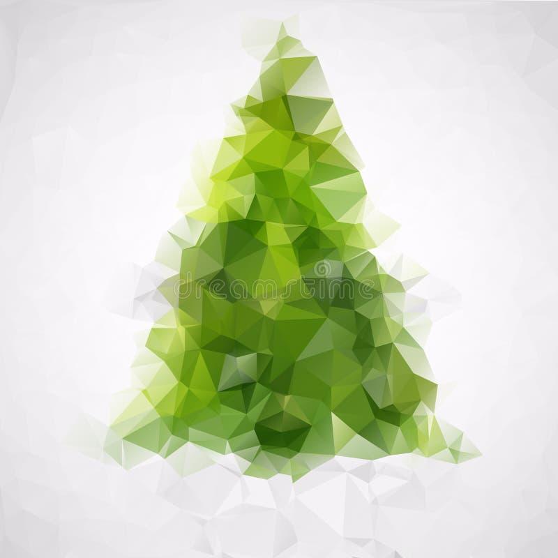 Polygonaler abstrakter Weihnachtsbaum von grünen Dreiecken Flacher Grußkartenhintergrund ENV Vektor IL vektor abbildung