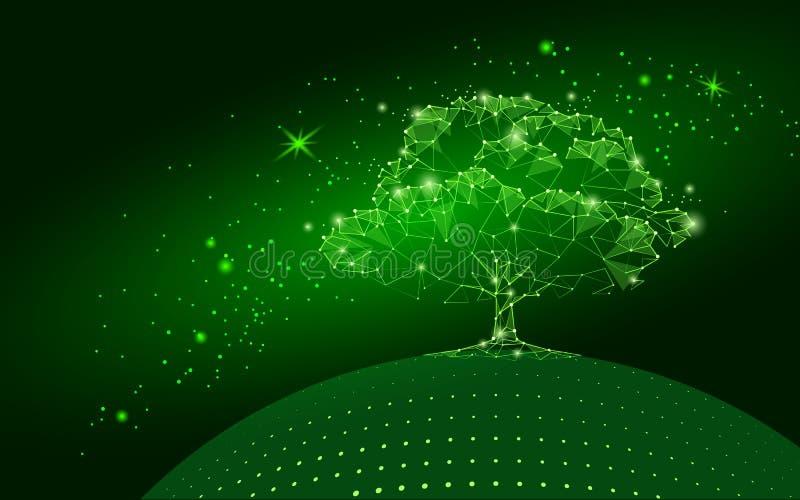 Polygonaler Baum auf dunkelgrünem Himmelhintergrund Abstraktes Erde-eco Kugelkonzept Verbundene Punktlinie Punktkunstleben-Wurzel stock abbildung
