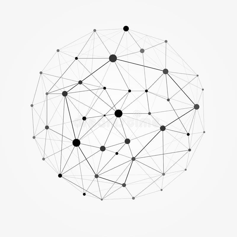 Polygonaler Bereich Wireframe-Masche Netzlinie, Designbereich, Punkt und Strukturillustration vektor abbildung