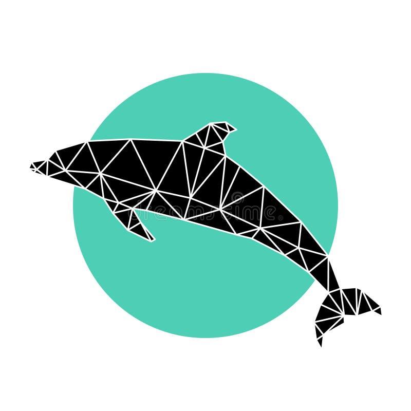 polygonaler Delphin auf blauem Kreis, geometrisches Tier des Polygons See stock abbildung