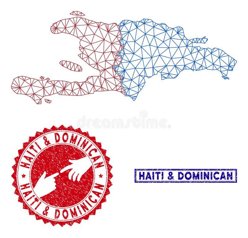 Polygonaler Draht-Rahmen Haiti und Dominikanische Republik-Karten-und Schmutz-Stempel lizenzfreie abbildung
