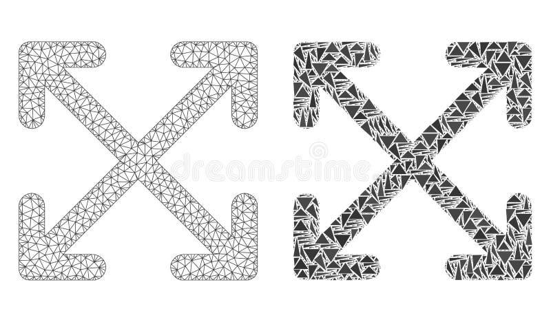 Polygonaler Draht-Rahmen Mesh Enlarge Arrows und Mosaik-Ikone stock abbildung