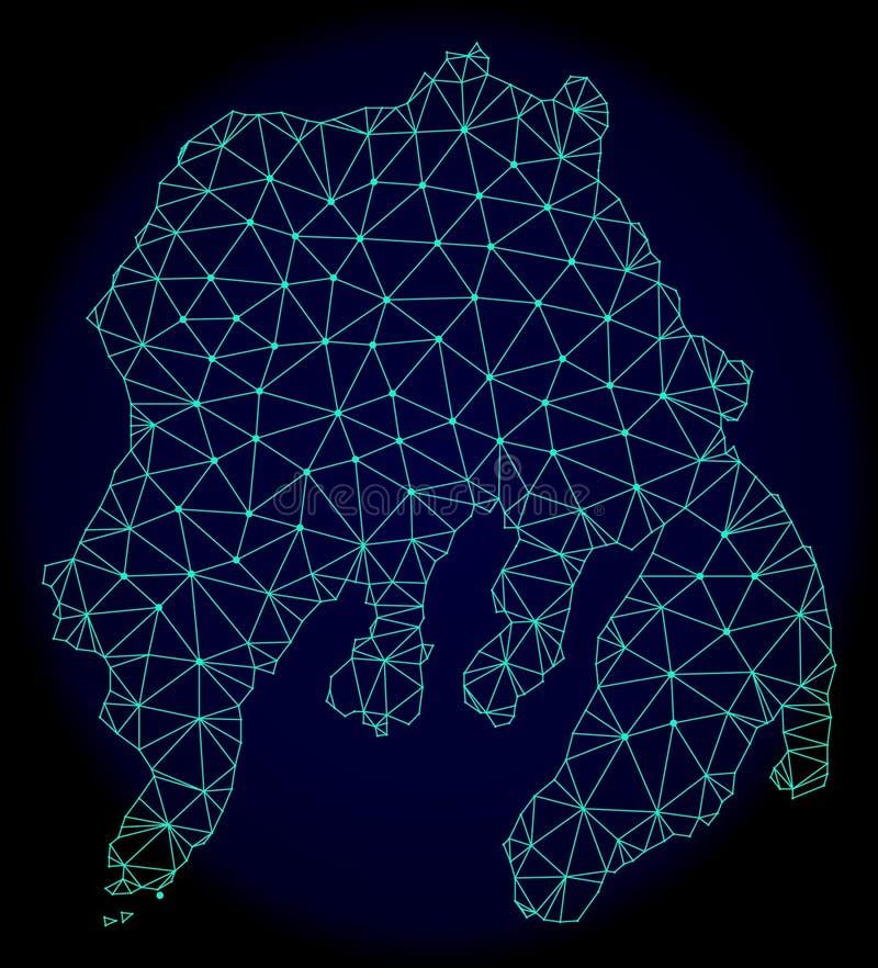 Polygonaler Draht-Rahmen Mesh Vector Abstract Map von Gambier-Insel lizenzfreie abbildung