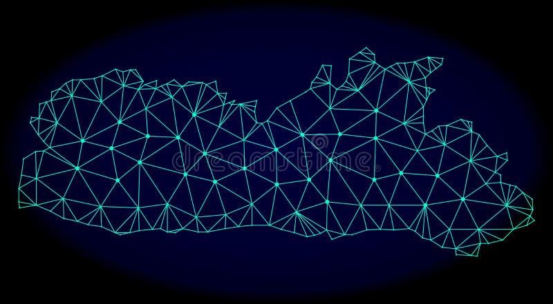 Polygonaler Draht-Rahmen Mesh Vector Abstract Map von Meghalaya-Zustand stock abbildung