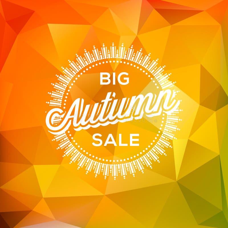 Polygonaler Hintergrund Autumn Sale-Plakats lizenzfreie abbildung