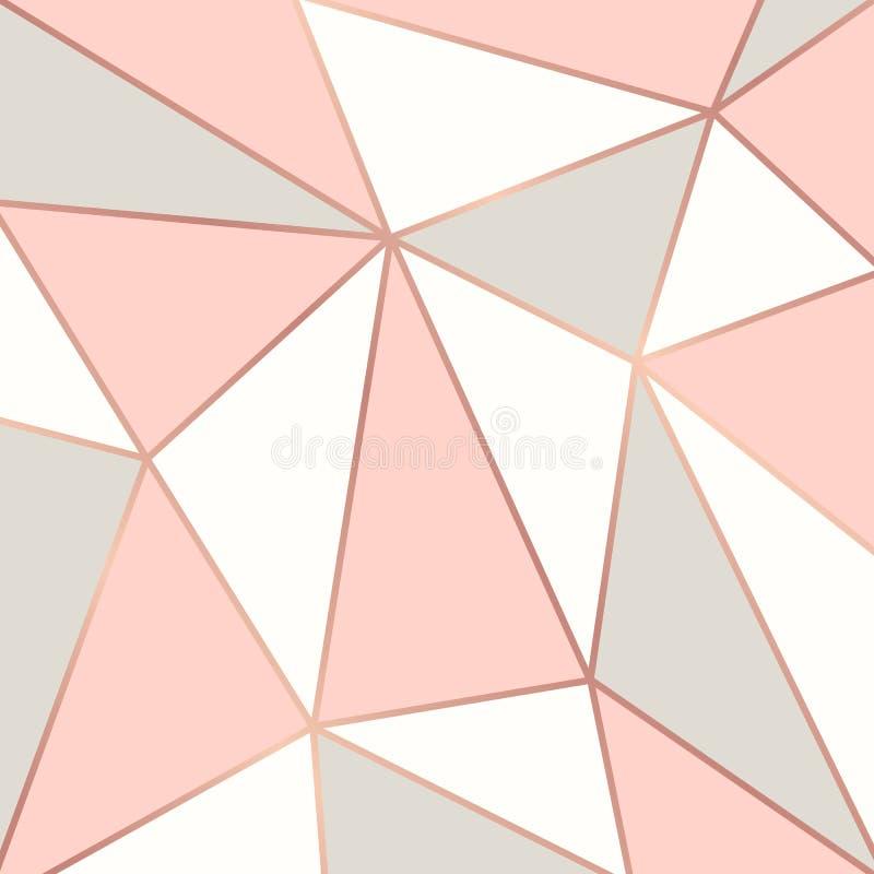 Polygonaler Hintergrund mit rosafarbenen Goldrahmen stock abbildung