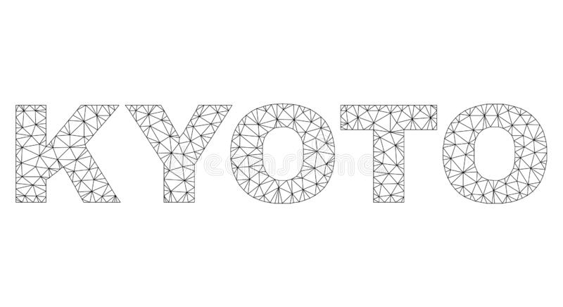 Polygonaler Karkasse KYOTO-Text-Titel lizenzfreie abbildung