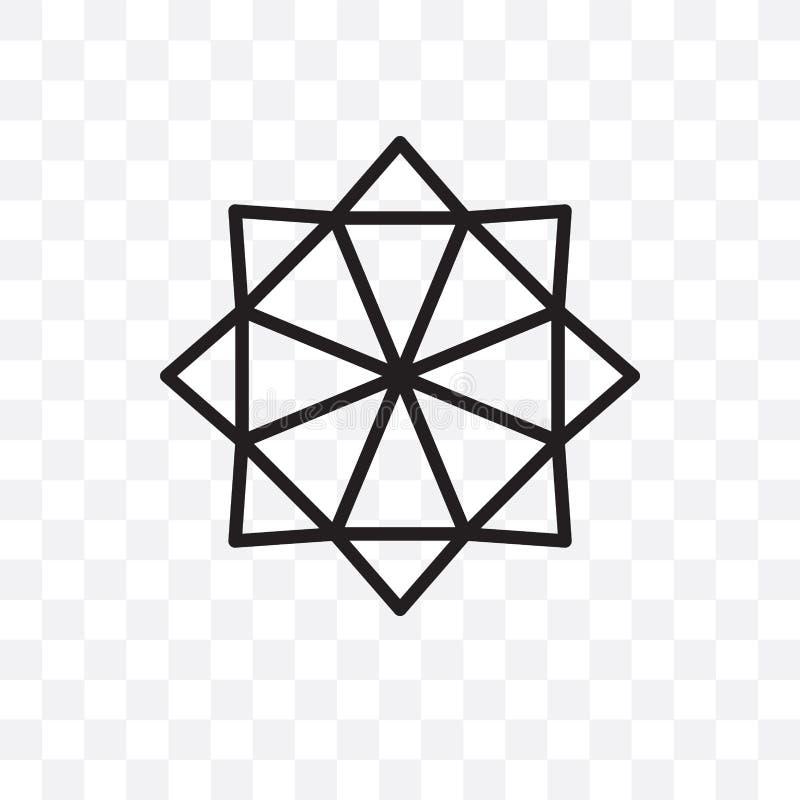 Polygonaler Stern von sechs Punkten linearen Ikone des Vektors lokalisiert auf transparentem Hintergrund, polygonaler Stern von s stock abbildung