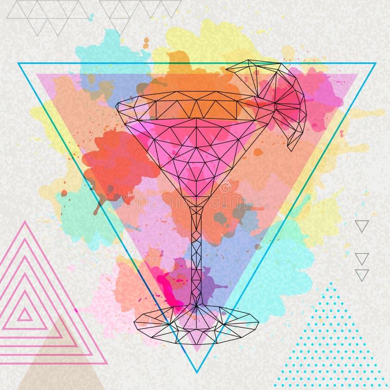 Polygonales Cocktail des Hippies kosmopolitisch auf Aquarellhintergrund stock abbildung