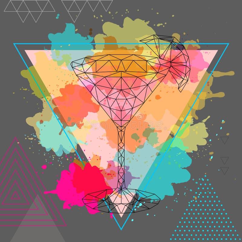 Polygonales Cocktail des Hippies kosmopolitisch auf Aquarellhintergrund lizenzfreie abbildung