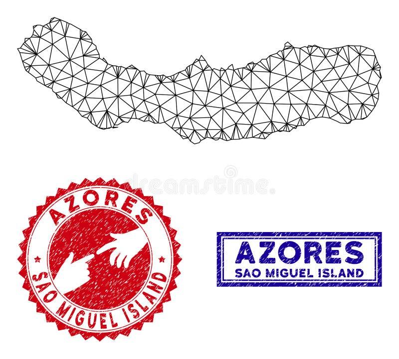 Polygonales 2D Sao Miguel Island Map und Schmutz-Stempel vektor abbildung