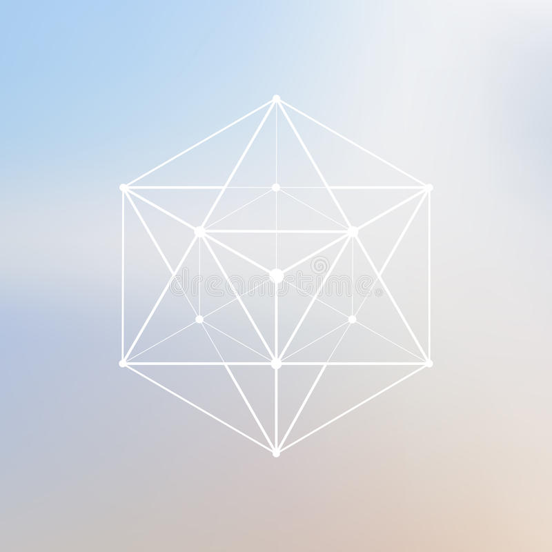 Polygonales Element Wireframe-Masche Polygon mit verbundenen Linien a vektor abbildung