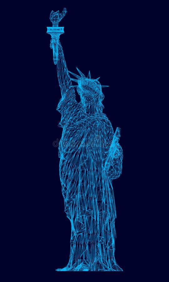Polygonales Freiheitsstatue Wireframe 3d Freiheitsstatue der blauen Linien auf einem dunklen Hintergrund Auch im corel abgehobene vektor abbildung