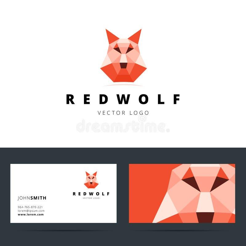 Polygonales Logo des Dreiecks mit Wolfzeichen und lizenzfreie abbildung
