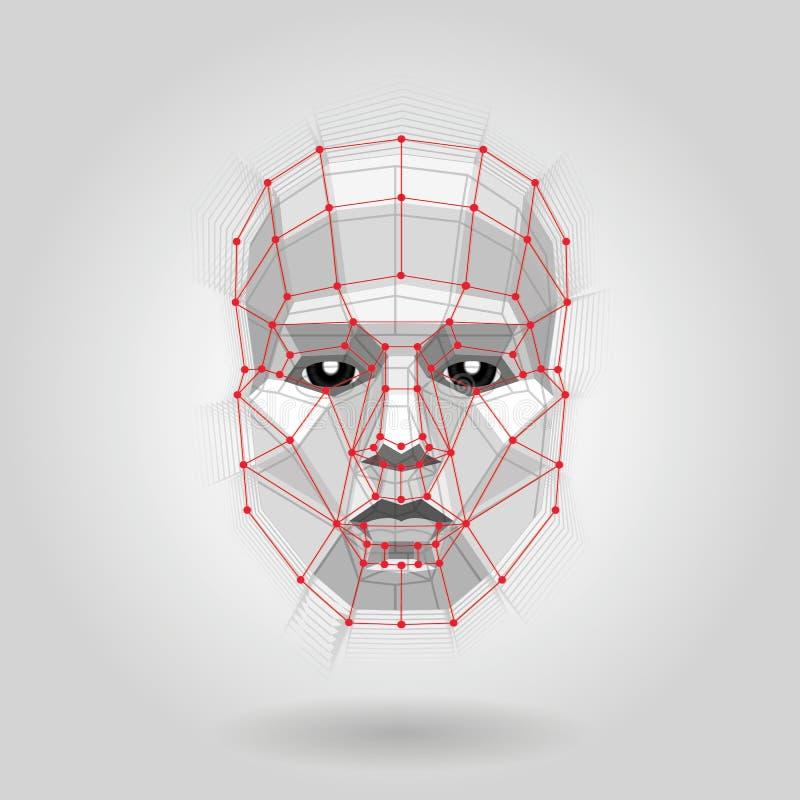 Polygonales menschliches Gesicht auf Licht Futuristisches Gesicht der Konzept-Zusammenfassungs-3D durch Formen stock abbildung