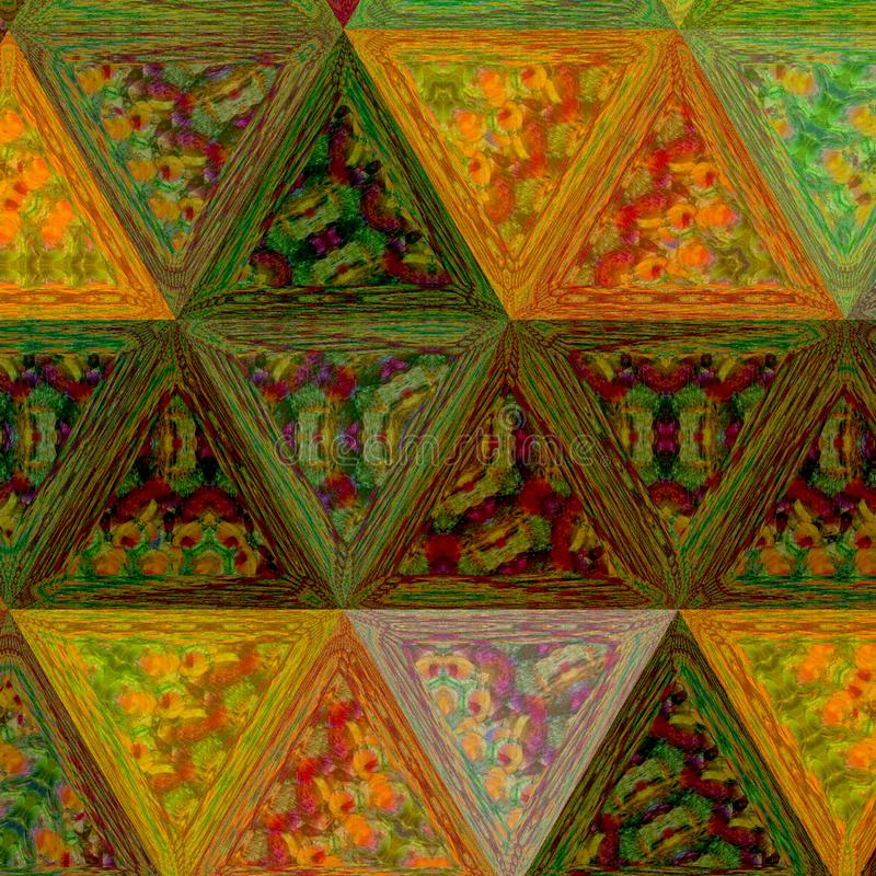 Polygonales Muster von blassen dunklen Farben: ockerhaltig, braun, Orange des Herbstahorns lizenzfreies stockfoto