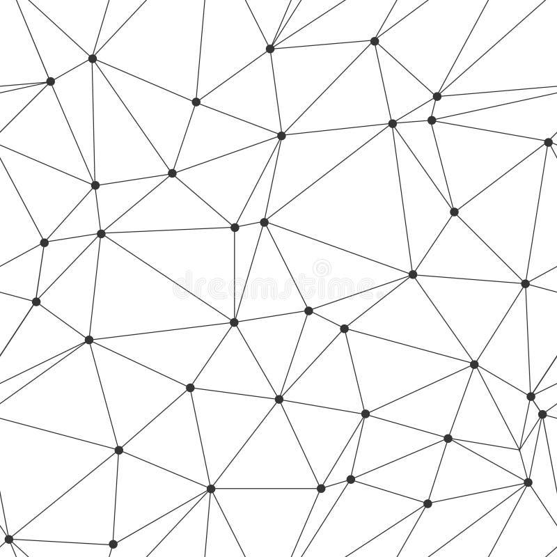 Polygonales nahtloses Muster der Zusammenfassung mit Verbindungspunkten und Linien Niedrige Polyart lizenzfreie abbildung