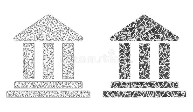 Polygonales Netz Mesh Bank Building und Mosaik-Ikone lizenzfreie abbildung