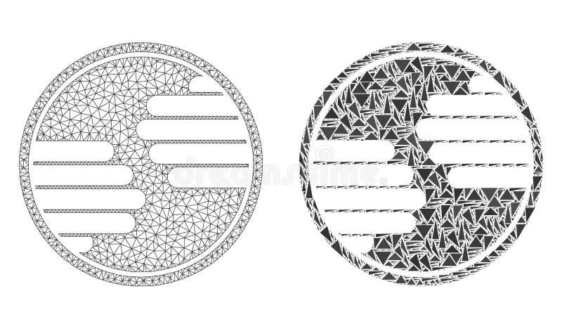 Polygonales Netz Mesh Hands Circle und Mosaik-Ikone stock abbildung