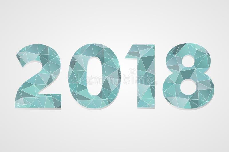 polygonales Symbol des Vektors 2018 Abbildung des glücklichen neuen Jahres Lokalisiertes blaues infographic Logo auf grauem Steig stock abbildung