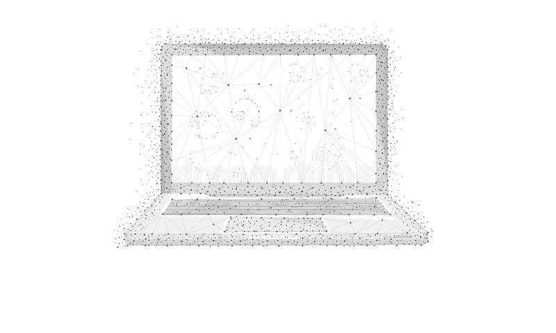 Polygonbärbar dator som isoleras på vit bakgrund royaltyfri illustrationer