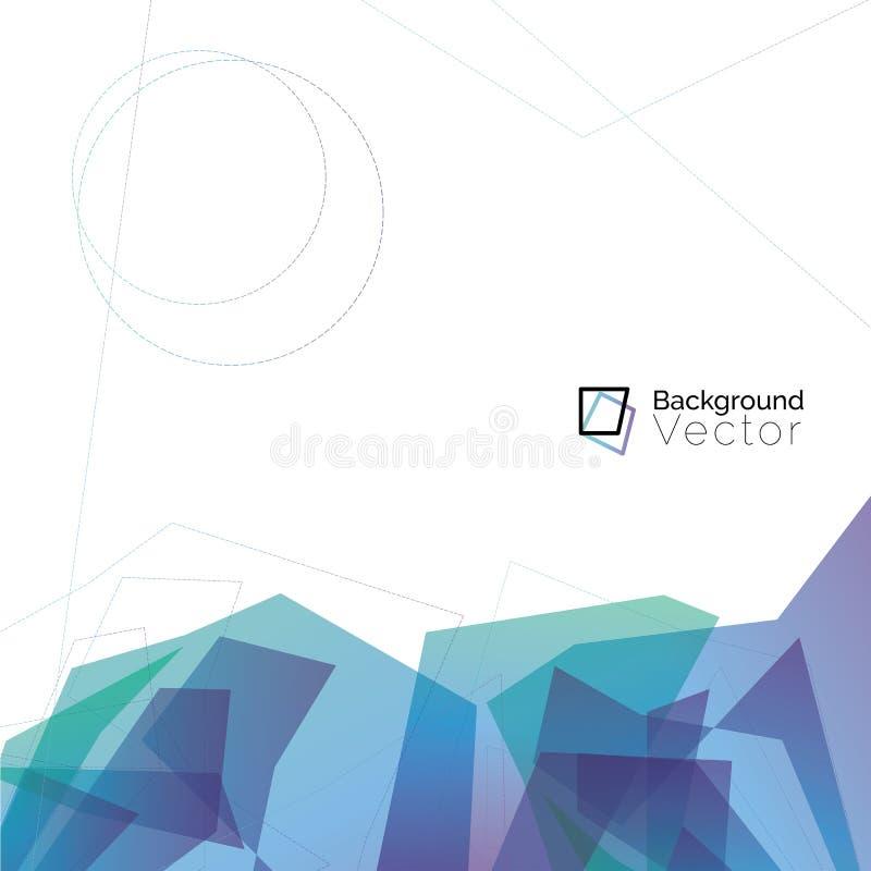 Polygone ab de vert bleu et de pourpre de ton frais multicolore moderne illustration de vecteur