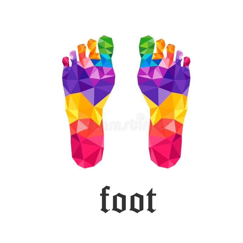 Polygone coloré de pied gauche et droit illustration libre de droits