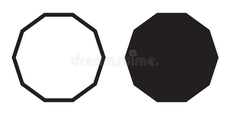 Polygone décagonal de vecteur d'icône de décagone illustration stock