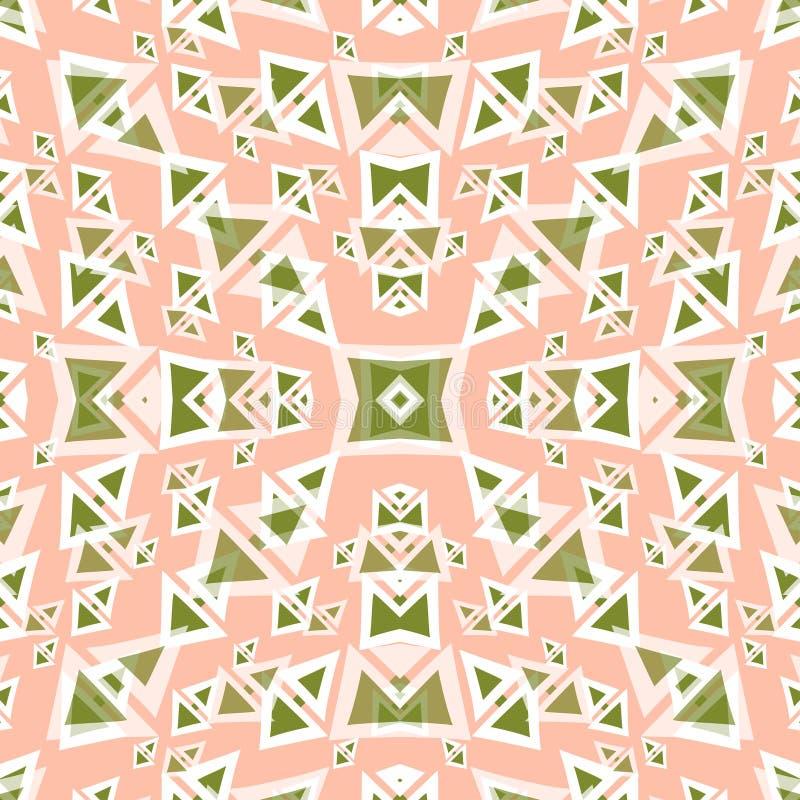 Polygones verts sur un fond rose doux illustration stock