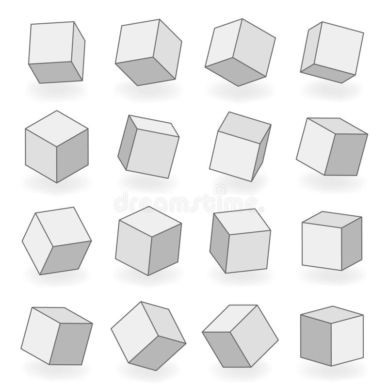 Polygoningreppet 3d som modellerar volymvinkel för fyrkantiga kvarter, vänder den isometriska isolerade illustrationen för symbol royaltyfri illustrationer