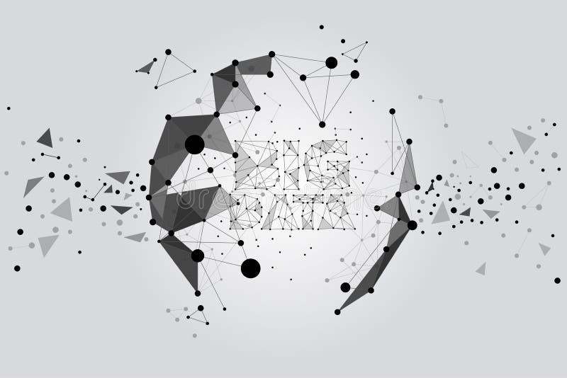 Polygonpartikelgestalt zum Bereich: Konzept von futuristischen, großen Daten, Daten wandeln um stock abbildung