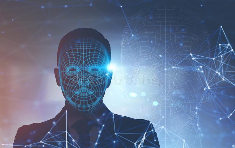 Polygons on man face, front view stock photo