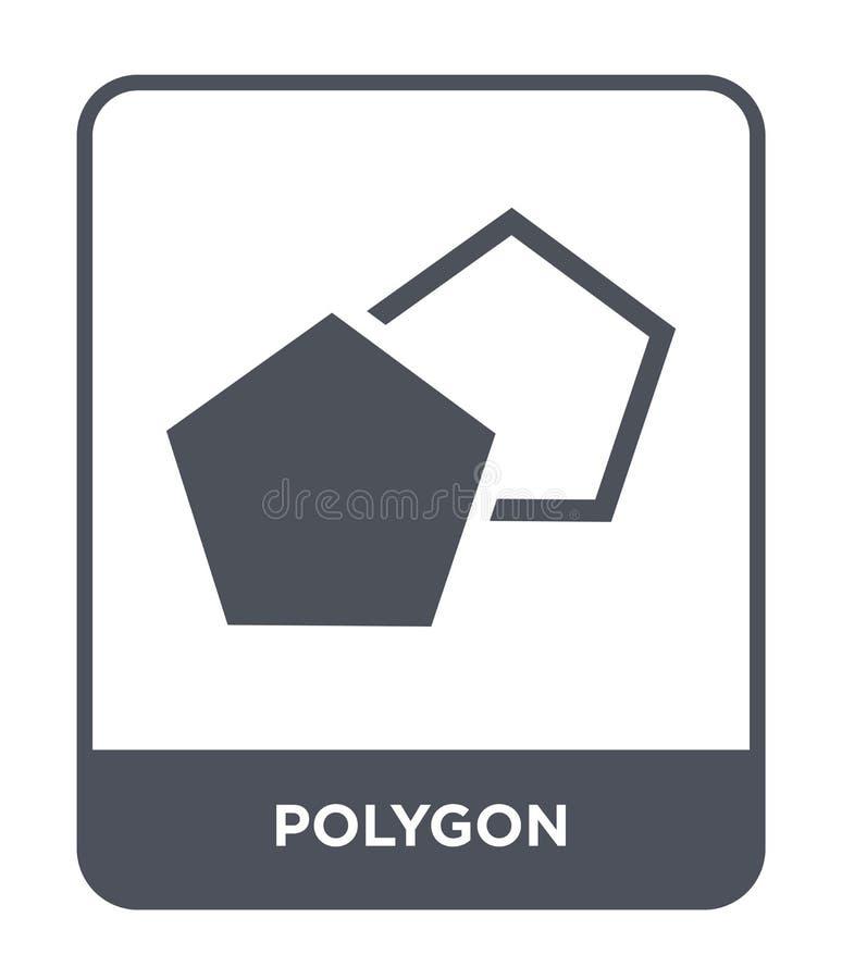 polygonsymbol i moderiktig designstil polygonsymbol som isoleras på vit bakgrund enkelt och modernt plant symbol för polygonvekto stock illustrationer