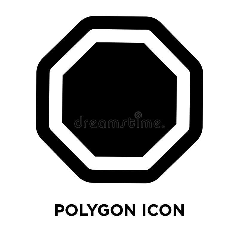 Polygonsymbolsvektor som isoleras på vit bakgrund, logobegreppsnolla vektor illustrationer