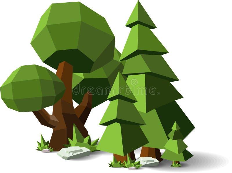 Polygonträduppsättning: granträd, ek och lönn, naturlig vektorgemkonst Geometrisk form för trädkrona Polygonal trädtecknin royaltyfri illustrationer