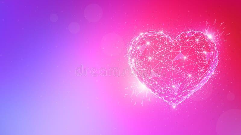 Polygonvalentinhjärta på flerfärgad bakgrund stock illustrationer