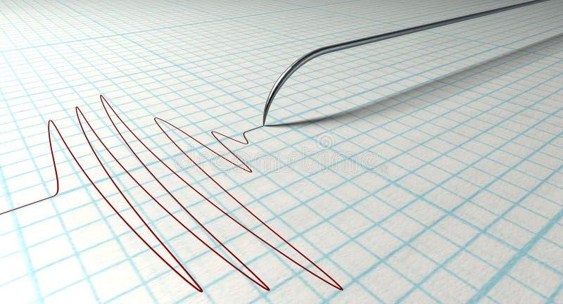 Polygraph-Nadel und Zeichnung stock abbildung