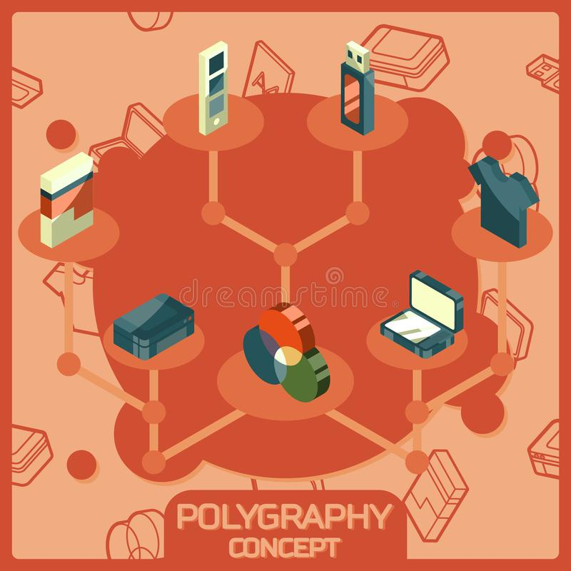 Polygraphy color isometric concept icons stock illustration