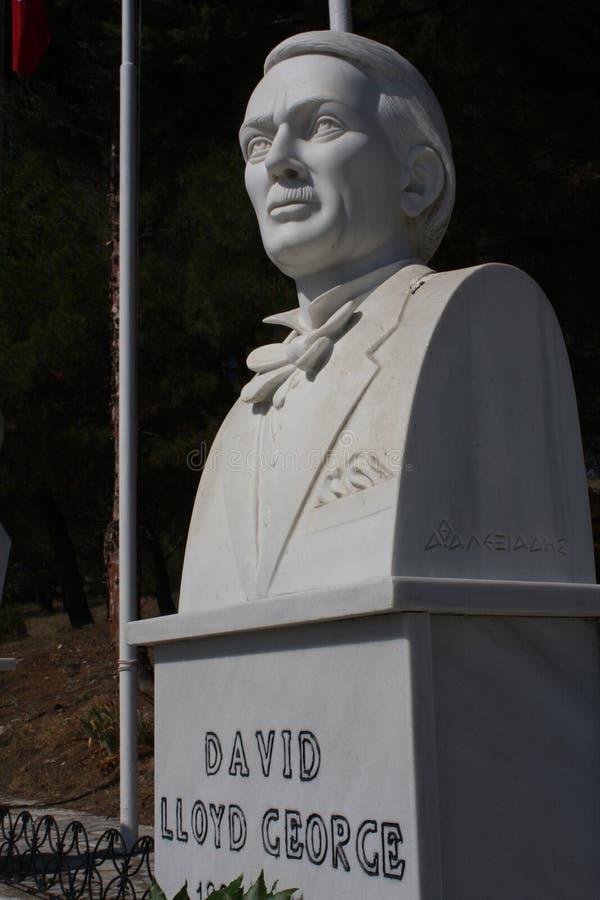 Polykastro WWI military cemetery, Macedonia, Greece. David LLoyd George - GB Prime minister statue on Polykastro WWI military cemetery, Macedonia, Greece stock image