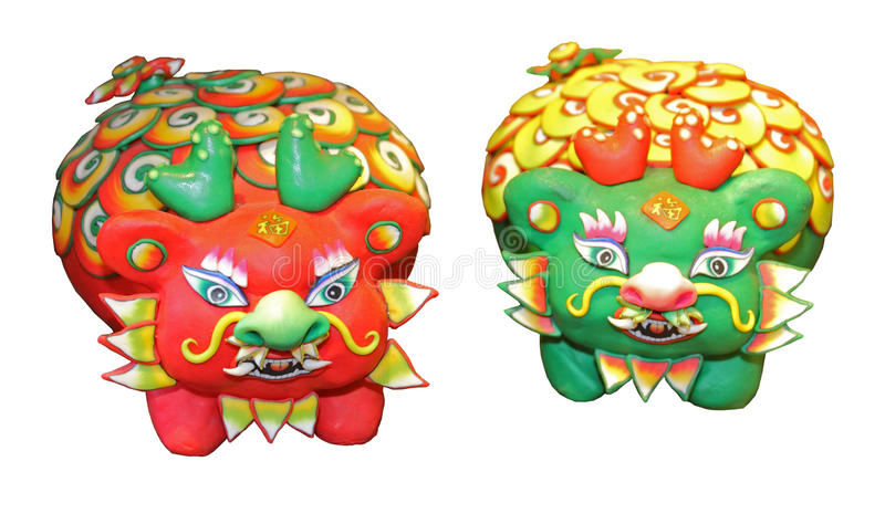 Polymer clay. The polymer clay figure is a traditional handmade toy, people buy it for child and make a good wish in the chinese new year royalty free illustration