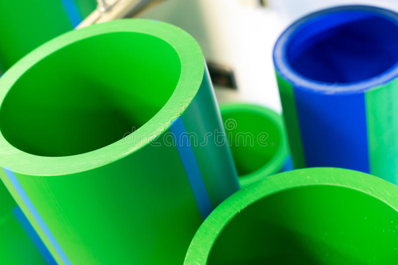Polymer pipes. Set of big polymer pipes royalty free stock images
