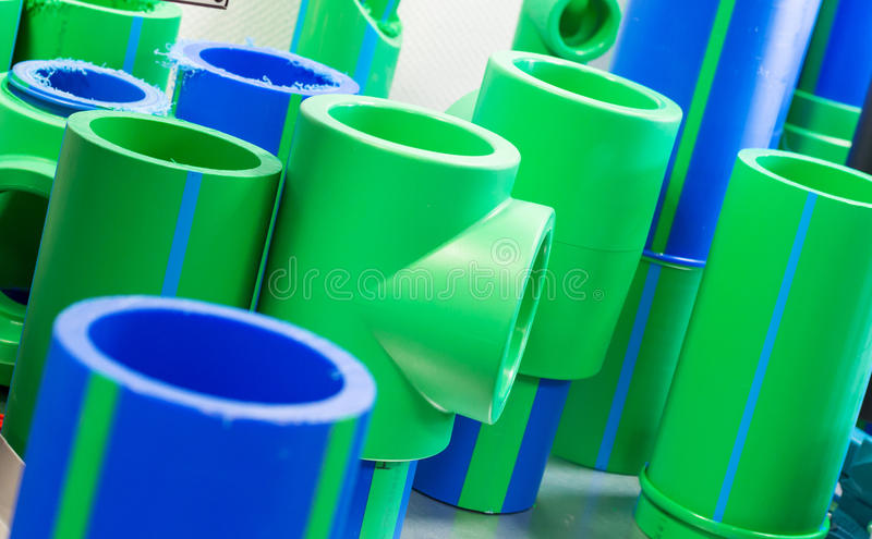 Polymer pipes. Set of big polymer pipes stock photography