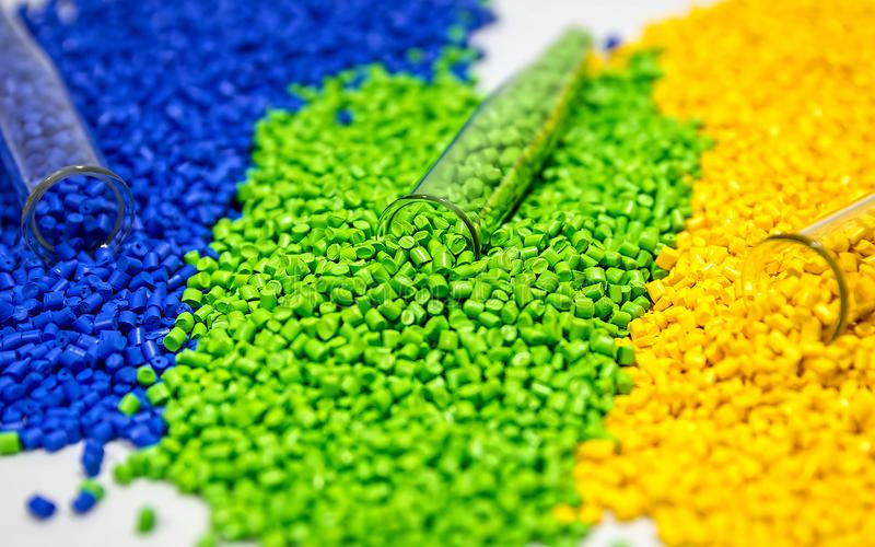 Polymere kleurstof Kleurstof voor plastieken Pigment in de korrels stock fotografie