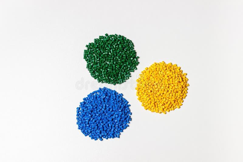 Polymeric dye. Colorant for plastics. Pigment in the granules. Polymeric dye. Plastic pellets. Colorant for plastics. Pigment in the granules stock photography